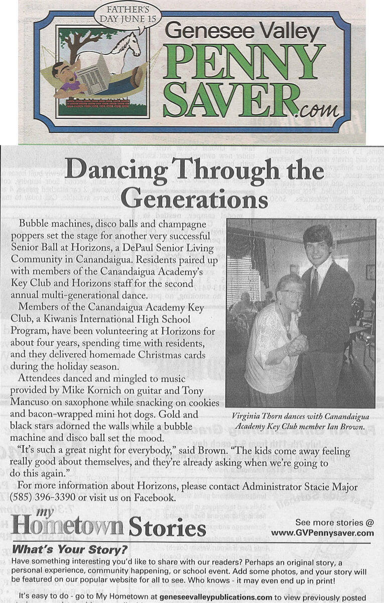 Horizons Senior Ball Article in the Genesee Valley Penny Saver June 27, 2014