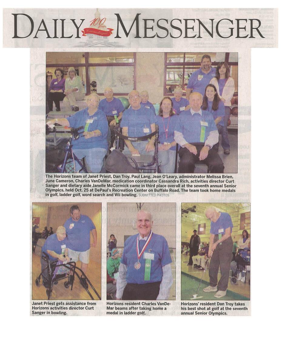 Horizons Senior Olympics Story in the Daily Messenger November 11, 2013