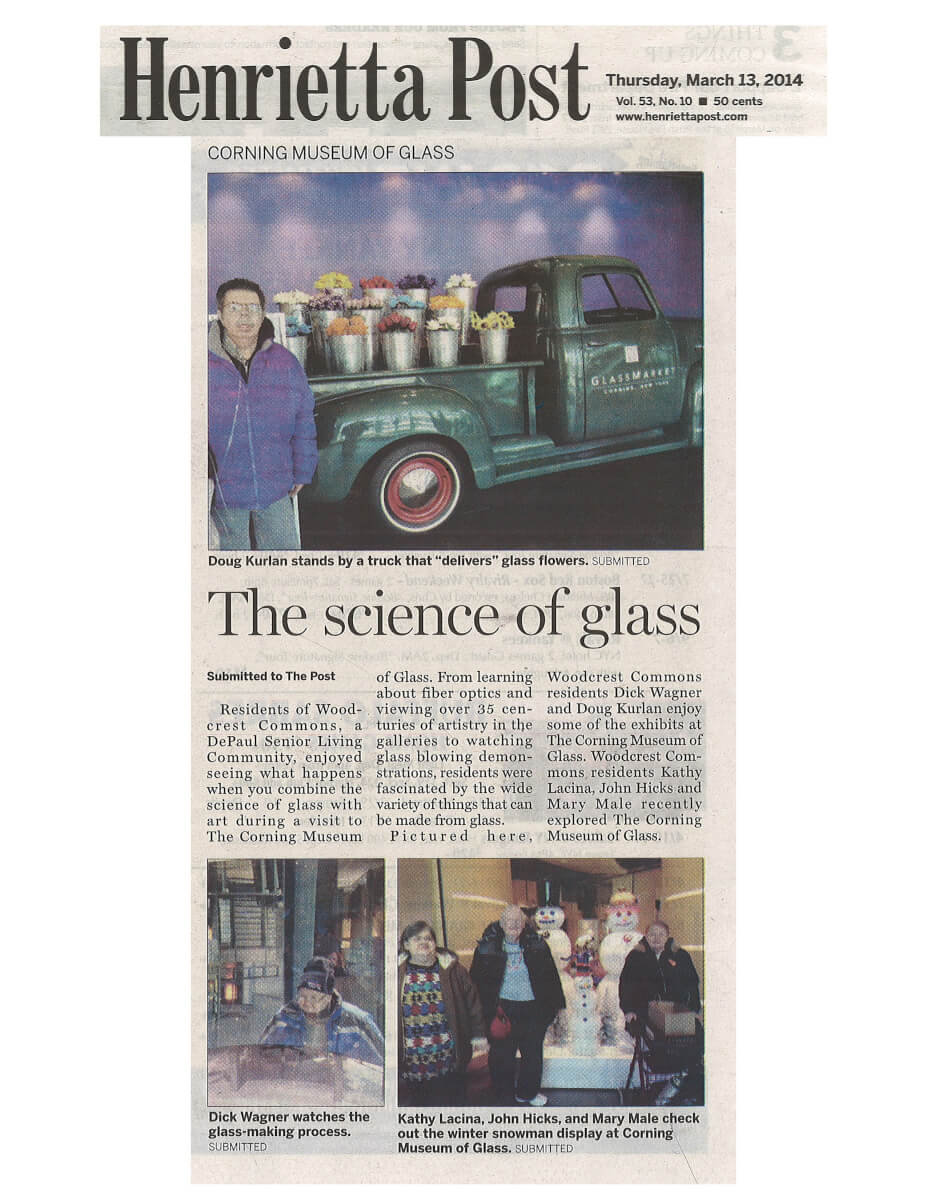 Woodcrest Commons Residents visit the Corning Museum of Glass Article in the Henrietta Post March 2014