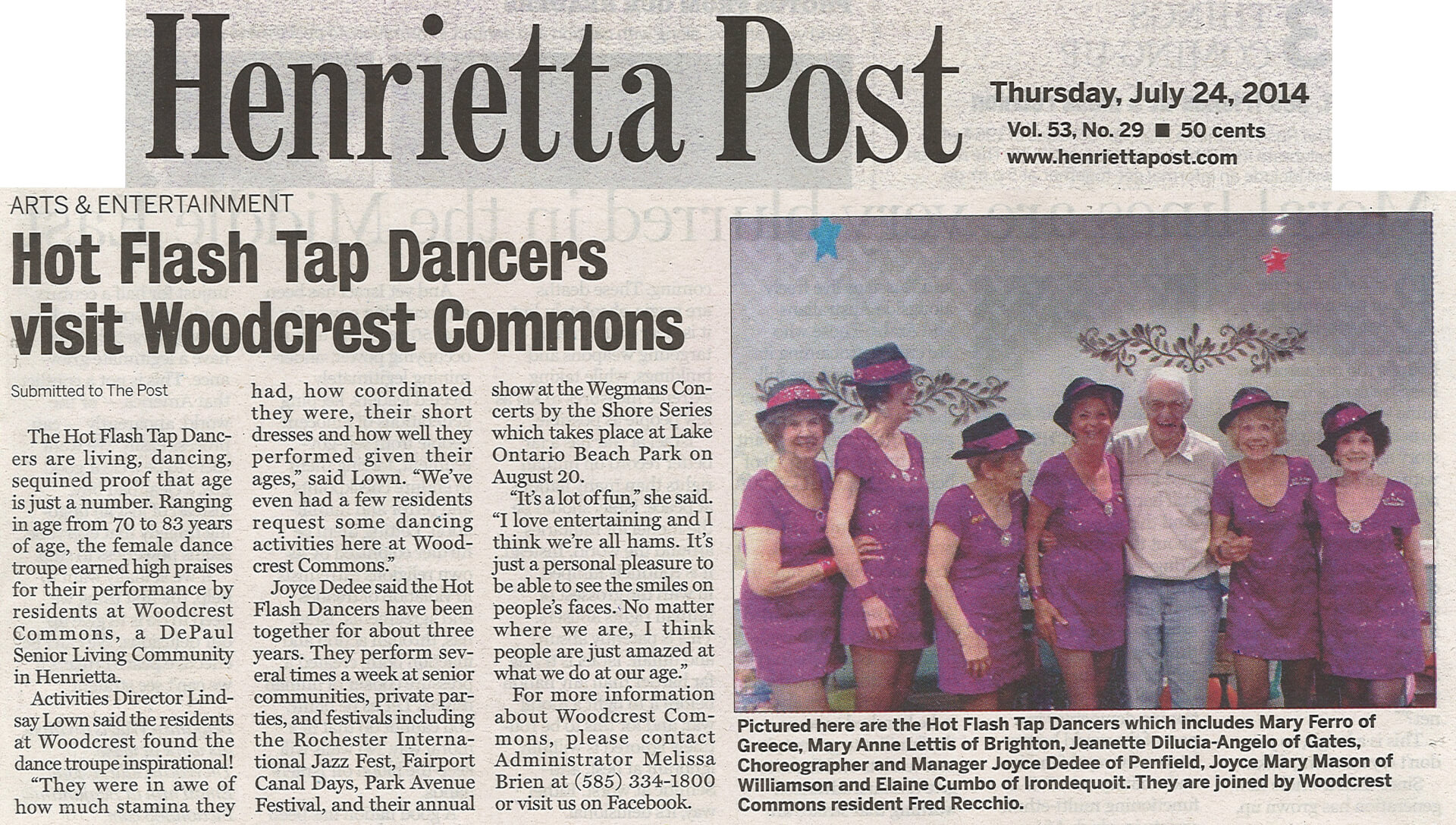 Woodcrest Commons Hot Flash Tap Dancers article in the Henrietta Post July 25, 2014