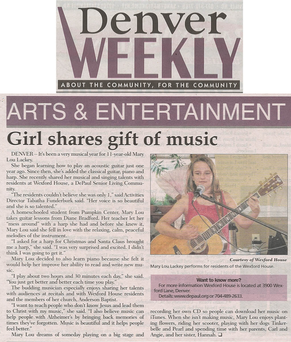 Wexford House Mary Lou Lackey shares the gift of music story in the Denver Weekly June 2014