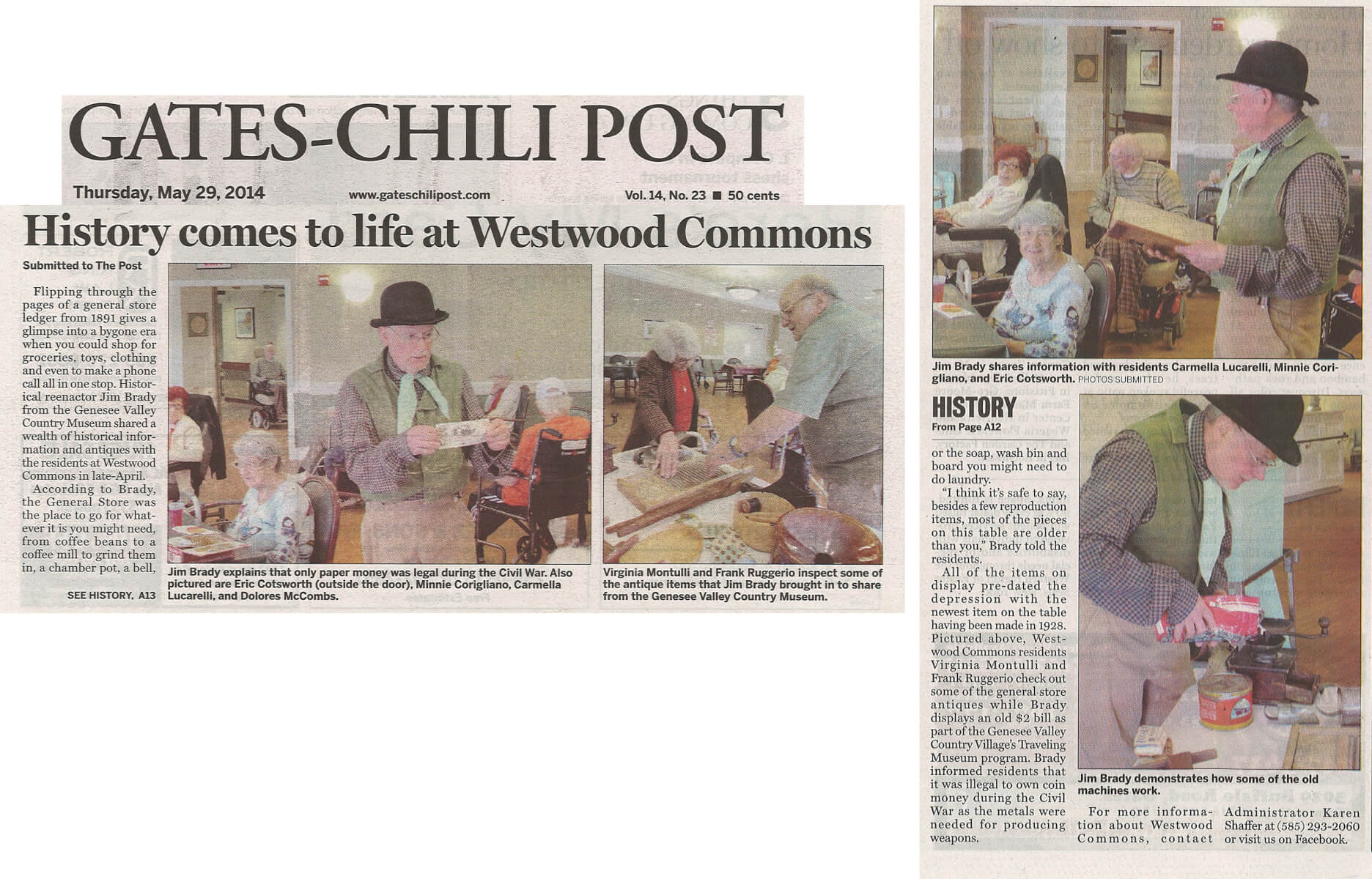 History Comes to Life at Westwood Commons General Store article in the Gates Chili Post May 25, 2014