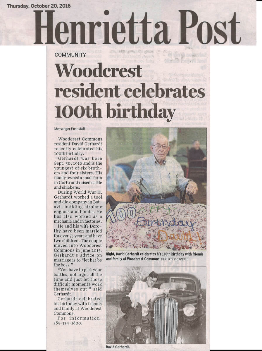 Woodcrest Commons resident David Gerhardt celebrates 100th birthday story in the Henrietta Post October 20, 2016