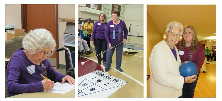 Horizons resident Zelma Batzel participates in the word search competition which she took second place in; resident Pearl Osterman participates in shuffleboard while Med Technician Judy Wilson looks on, and resident Rose Lenzi prepares to bowl with assistance from Supervisor Tara Beth Clark.