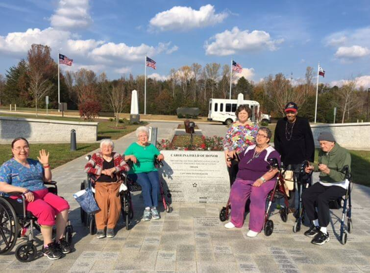 Group photo of Southfork residents who visited the Carolina Field of Honor