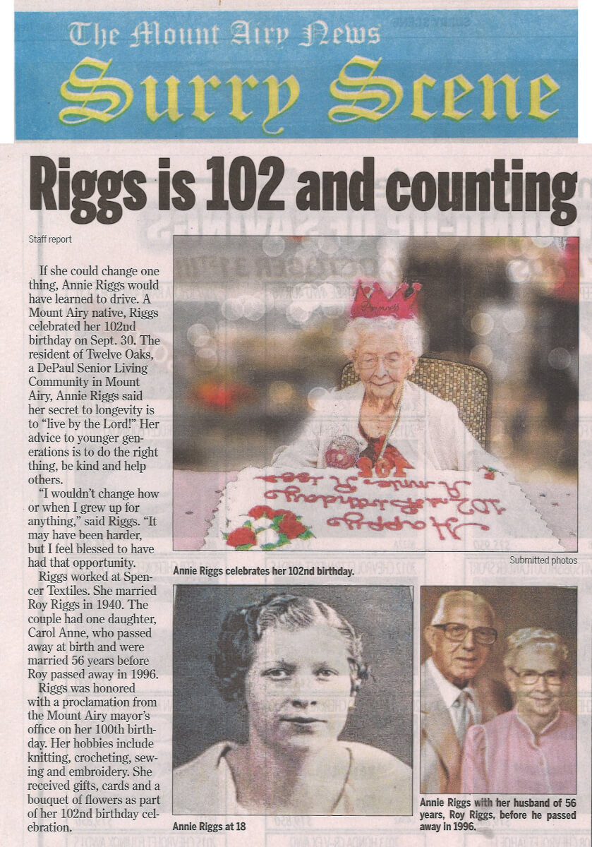 Twelve Oaks Resident Annie Riggs turns 102 story in the October 27, 2016 edition of The Mount Airy News