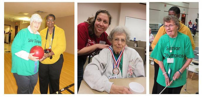 Westwood Commons resident Alice Brenkus steps up to bowl along with Activities Director Cathy Toney; Judy Kinch accepts a silver medal in the spelling bee competition and Florence VanCott gives her best performance during shuffleboard.
