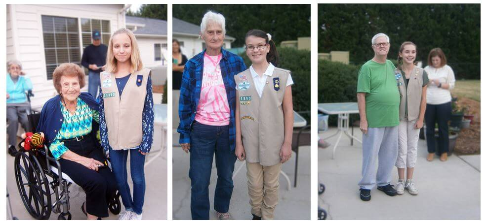 Wexford House resident Frances Genta with Girl Scout Kaitlyn Sheppard; Wexford House resident Jackie Taylor with Girl Scout Chloe Rapp and Wexford House resident Rick Taylor and Girl Scout Katie Cook at the pinning ceremony.
