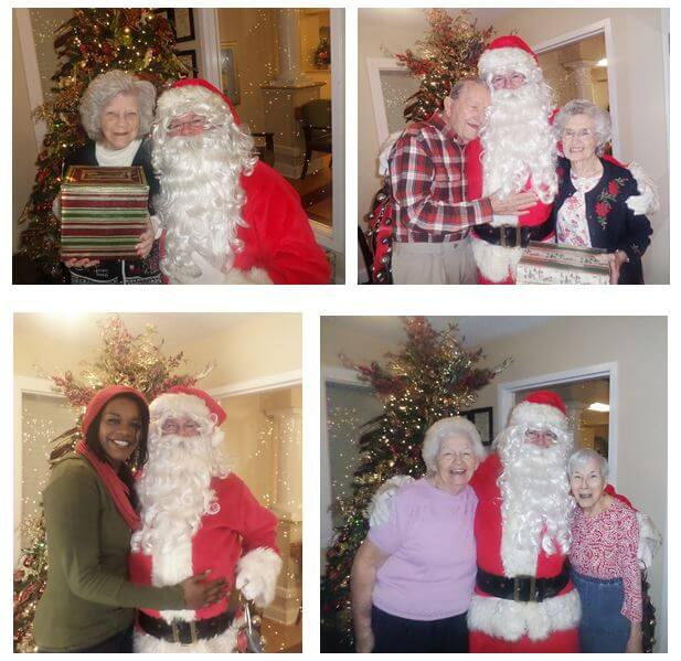 Pictured with Santa are Doris Fox, Jim and Marie Barthlomew, Personal Care Assistant Ashley Chislom and Alma Taylor and Lib Carpenter.