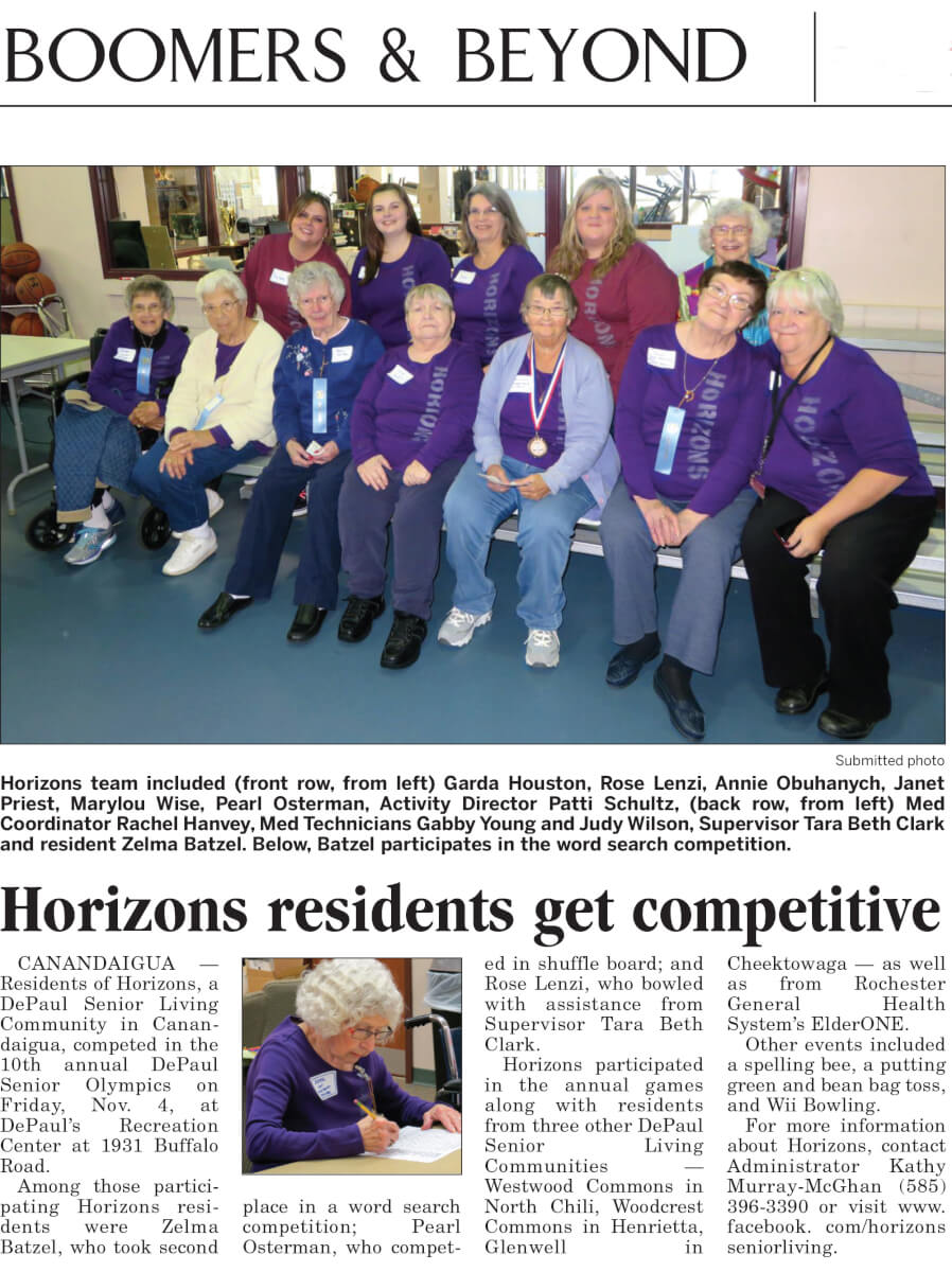 Horizons' Residents get competitive article in Boomers and Beyond November 21, 2016
