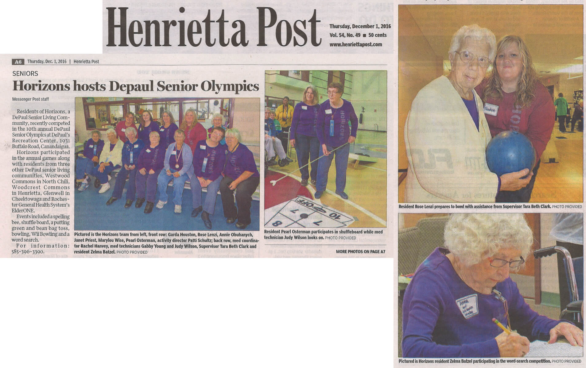Horizons Assisted Living Hosts DePaul Senior Olympics story in the Henrietta Post December 1, 2016