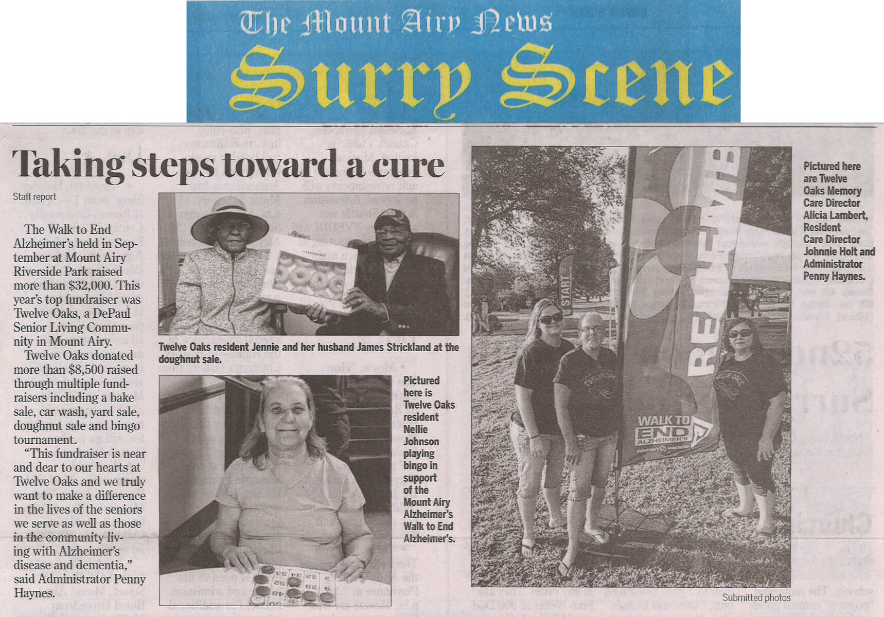 Twelve Oaks Residents walk to end Alzheimers December 1, 2016 story in the Mount Airy News