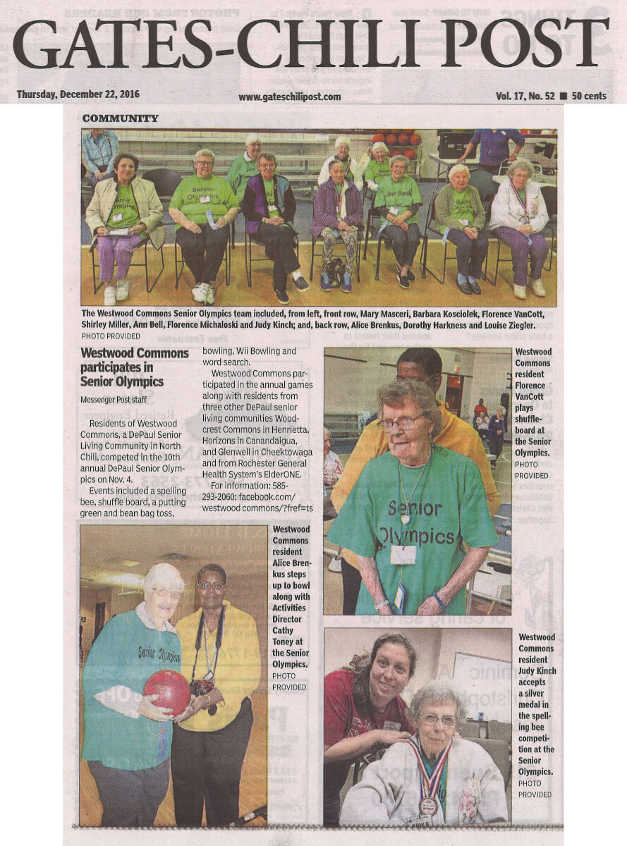 Westwood Commons participates in the Senior Olympics article in the Gates Chili Post December 22, 2016