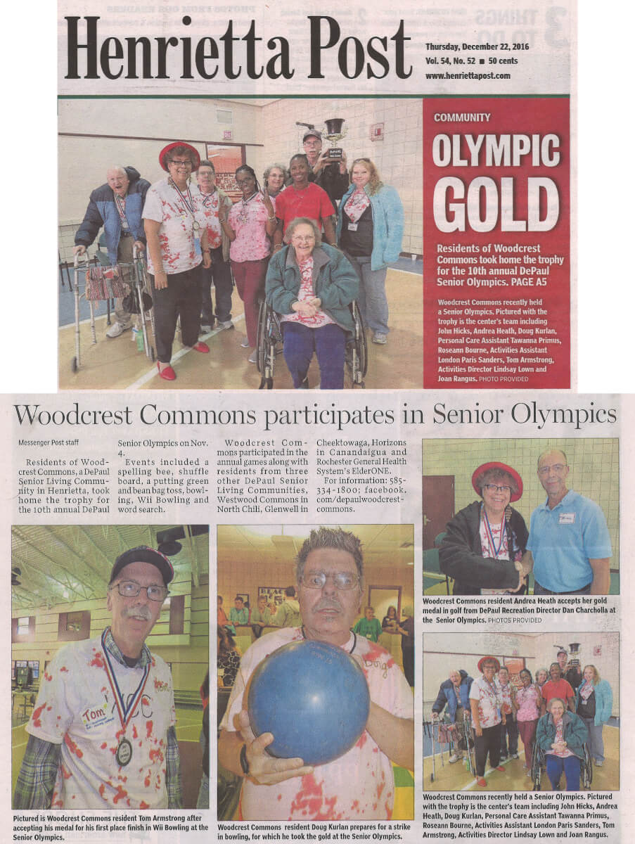 Woodcrest Commons participates in the Senior Olympics article in the Henrietta Post December 22, 2016
