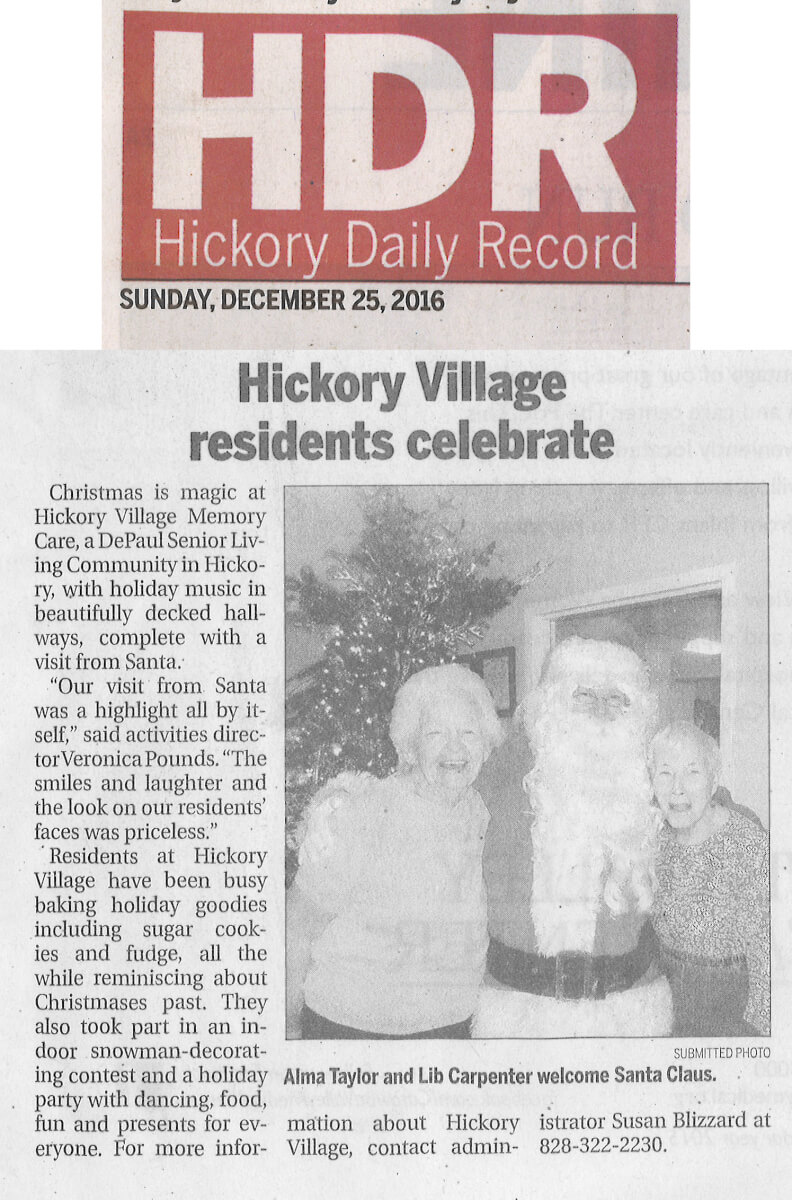 Hickory Village celebrates Christmas, story in the Hickory Daily Record, December 25, 2016
