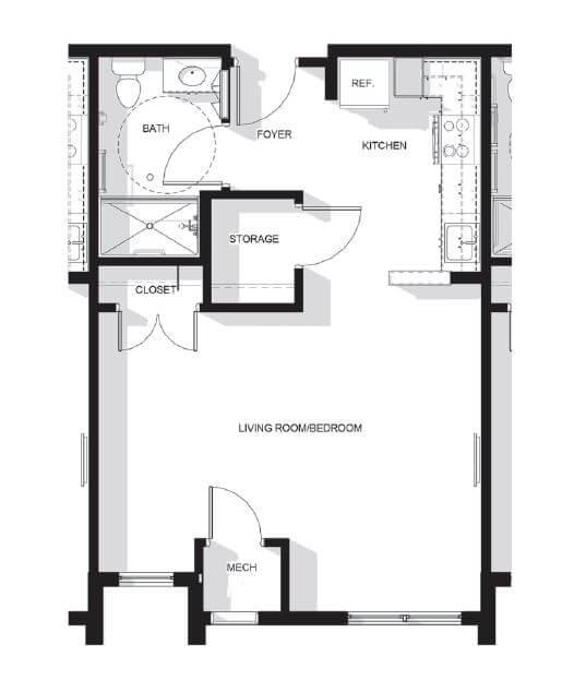 Upper Falls Square Apartments Studio Floor Plan