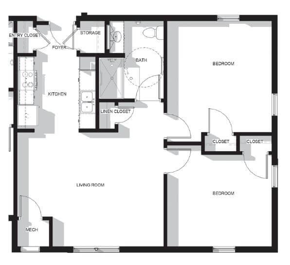 Upper Falls Square Apartments Two Bedroom Floor Plan