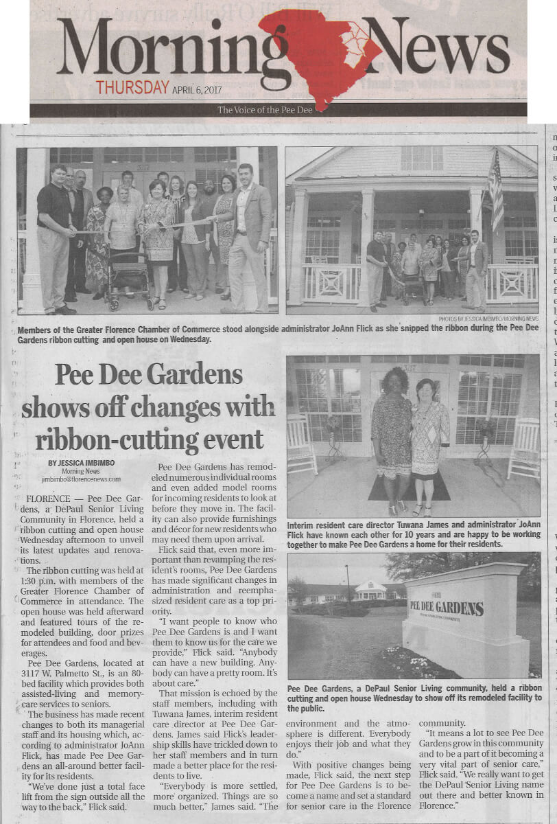 Pee Dee Gardens shows off changes with ribbon-cutting event, article in the Morning News April 6, 2017