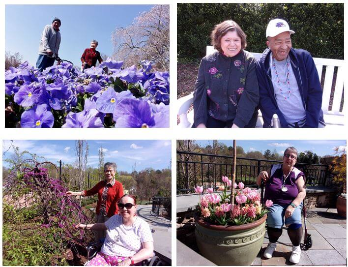 Southfork residents Darrell Norman, Sue Liles, Jane Myers and Johnnie Montgomery at the Reynolda Gardens. Pictured bottom row are Southfork residents Brenda Bailey, Sue Liles and Judy Sink at the Paul J. Ciener Botanical Center