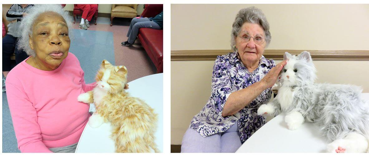 Twelve Oaks residents Martha Joyce and Ethel Dillon with the Joy For All Comfort Cats