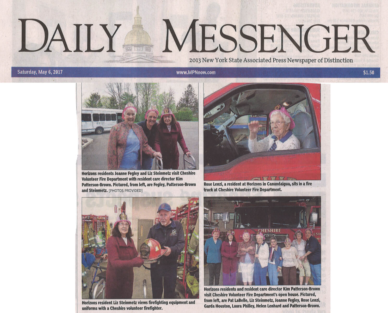 Horizons Assisted Living Community visits the Fire Department photos in the Daily Messenger May 6, 2017