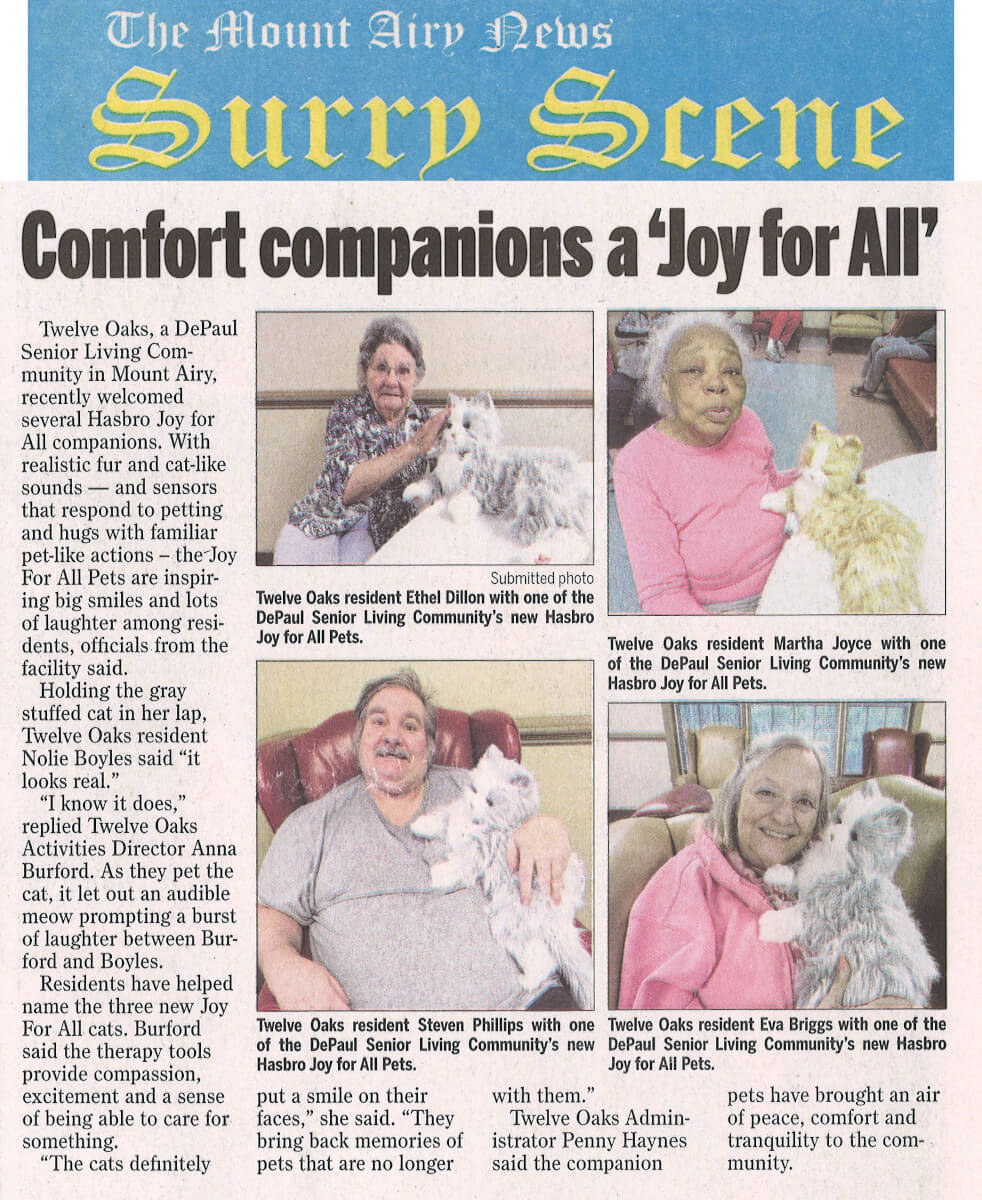 Twelve Oaks Residents enjoy Comfort Companions, article in the The Mount Airy News Surry Scene