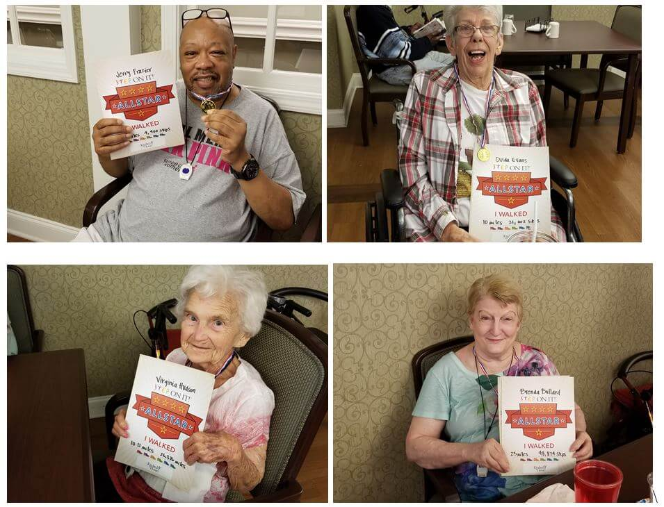 Pee Dee Gardens residents Jerry Frazier, Ouida Evans, Virginia Hudson and Brenda Bullard proudly accept their Step-It-Up Awards for participating in the Walking Challenge