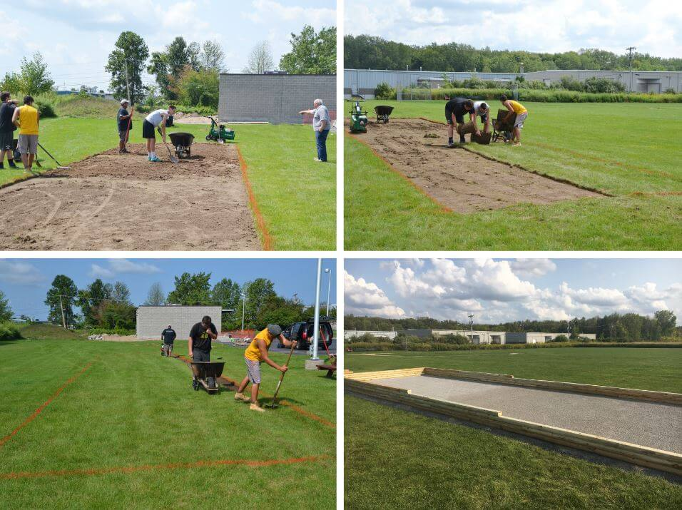 Various stages of the bocce ball court being created at DePaul