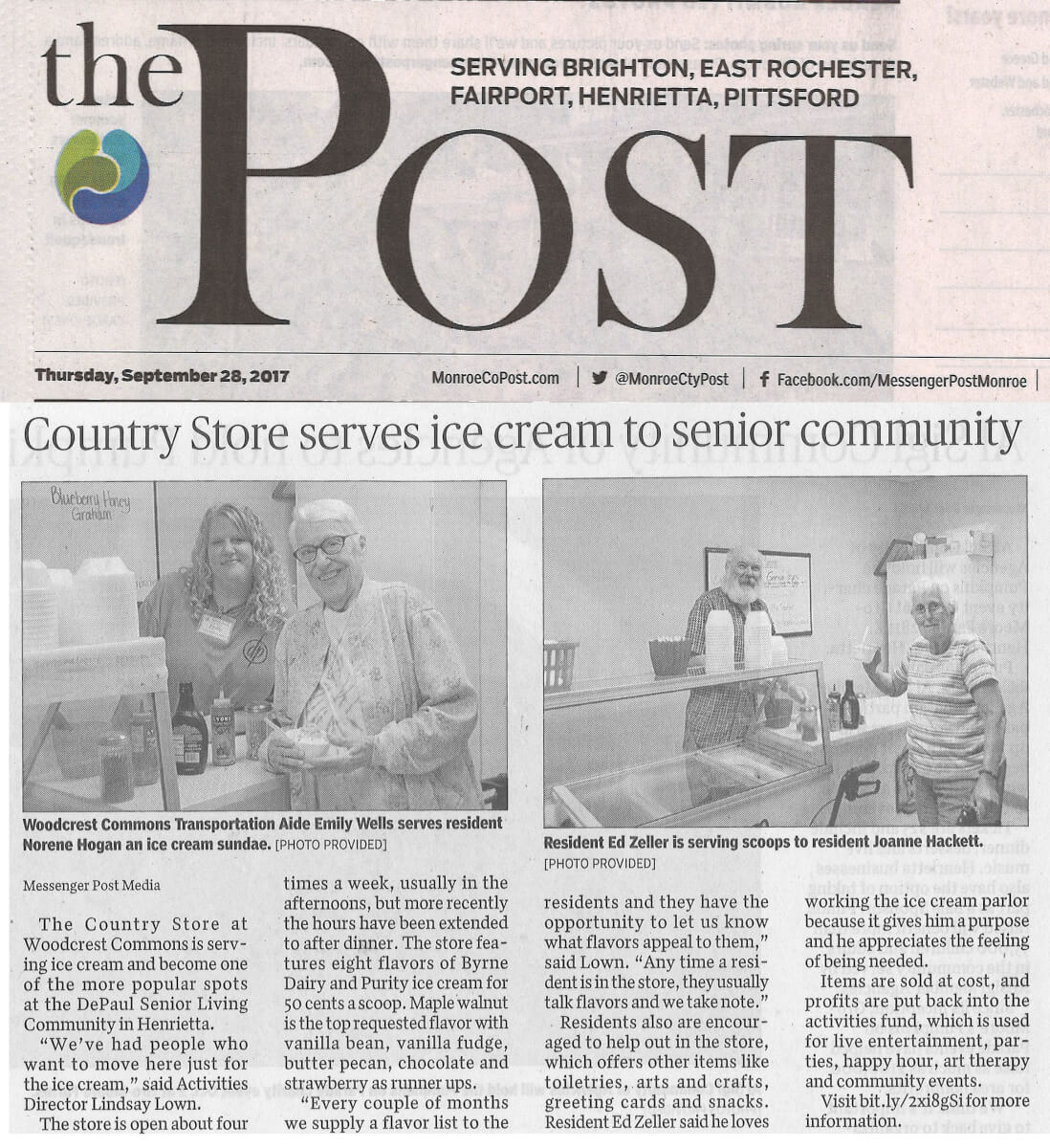 Woodcrest Commons' Country Store serves ice cream, article in the Post September 28, 2017