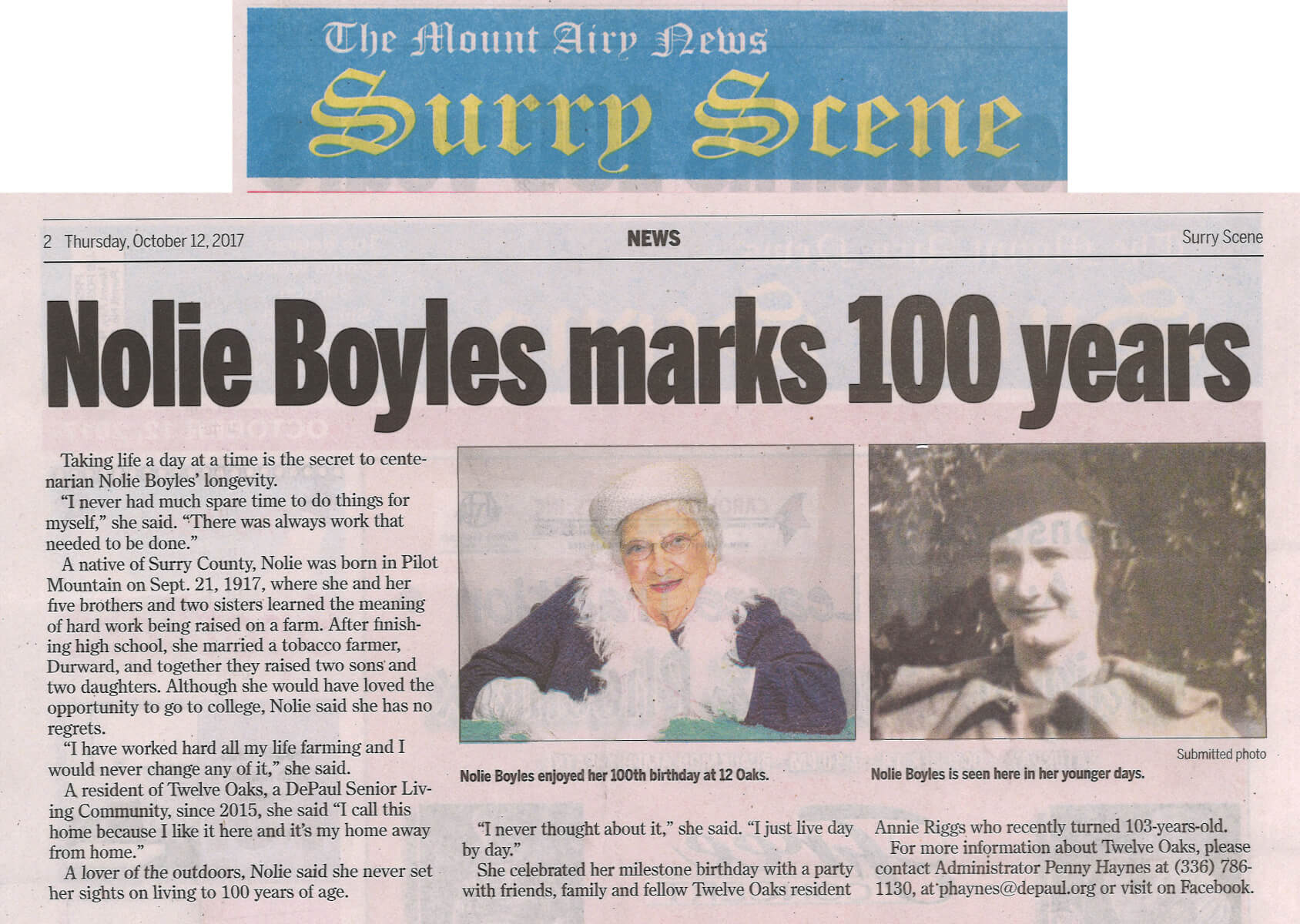 Nolie Boyles, a resident of Twelve Oaks celebrates 100 years. Article in The Mount Airy News October 12, 2017