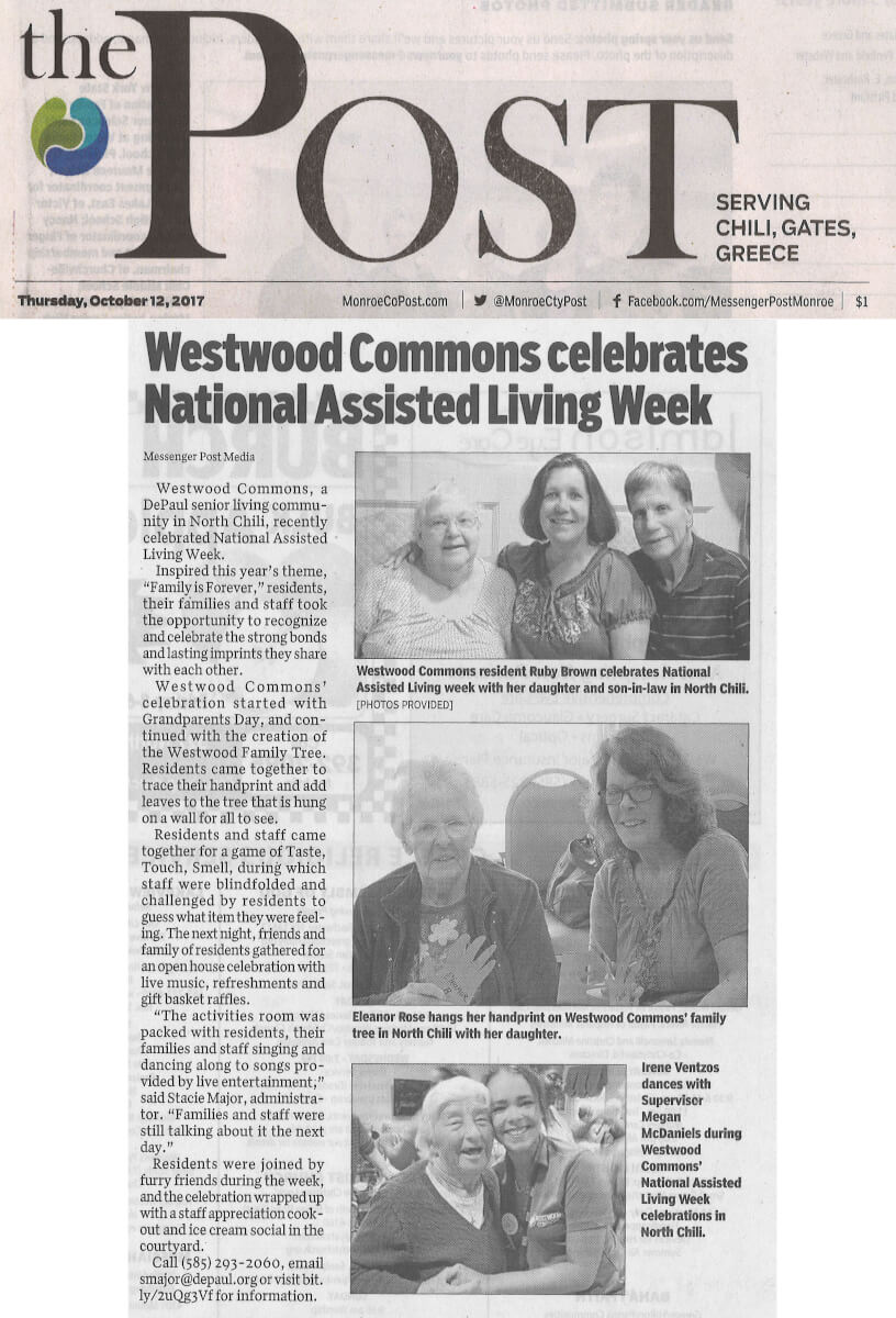 Westwood Commons celebrates National Assisted Living Week, story in the Post October 12, 2017