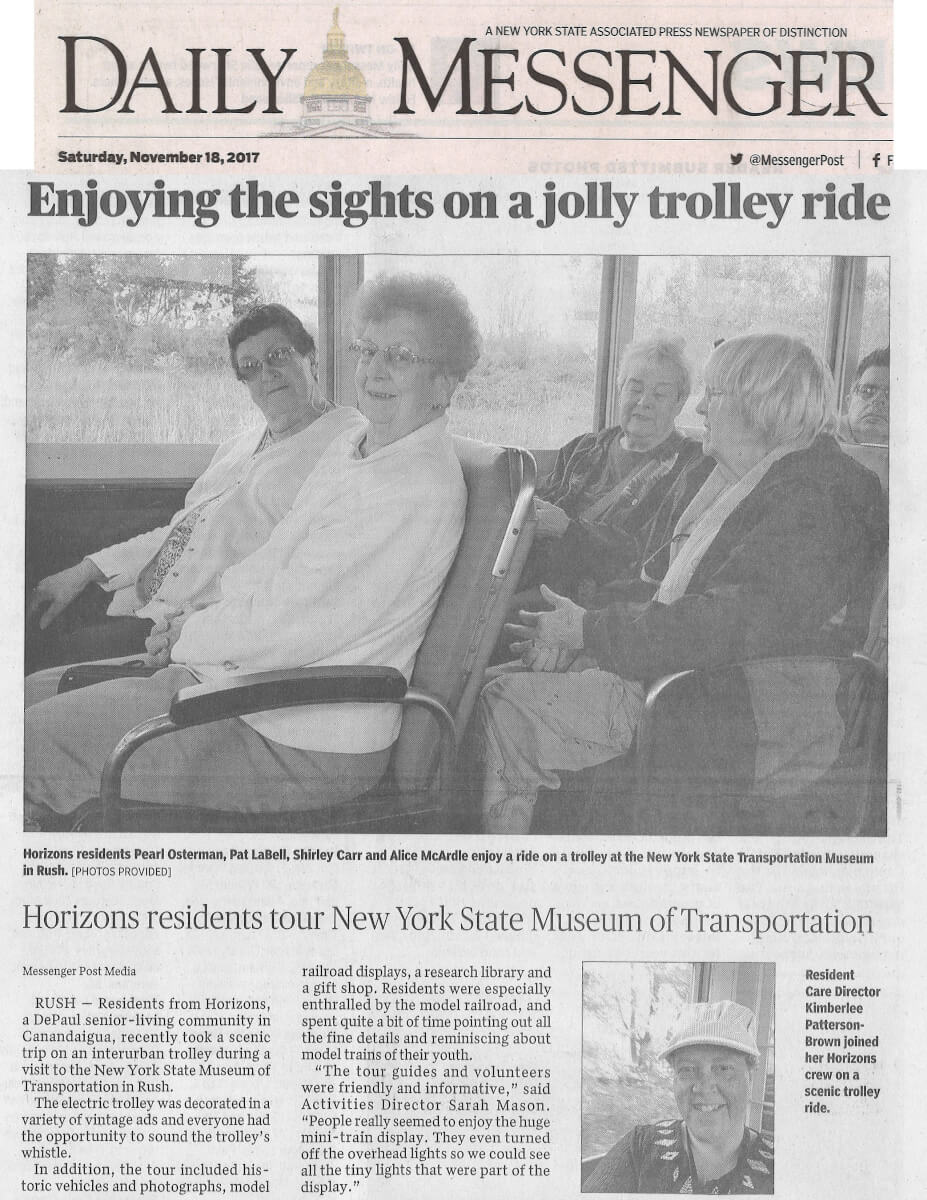 Horizons residents tour NY State Museum of Transportation, article in the Daily Messenger November 18, 2017