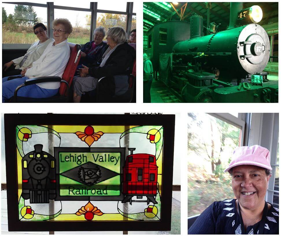 Horizons residents  Pearl Osterman, Pat LaBell, Shirley Carr and Alice McArdle, and Resident Care Director Kimberlee Patterson-Brown enjoy a ride on a trolley at the New York State Transportation Museum in Rush.