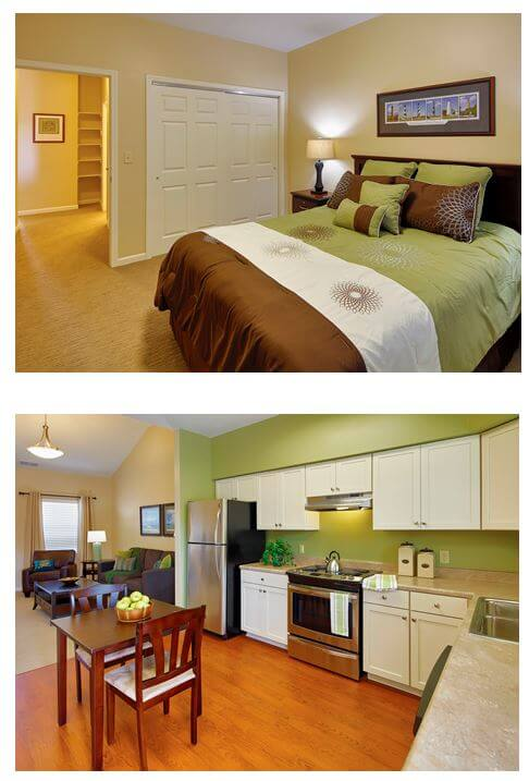 Interior photos of the bedrooms and kitchens at the villas at rolling ridge