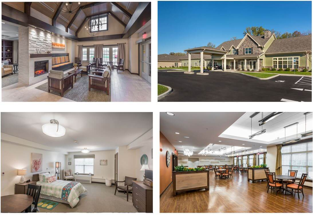 Interior and exterior photos of Wheatfield Commons, a DePaul Senior Living Community