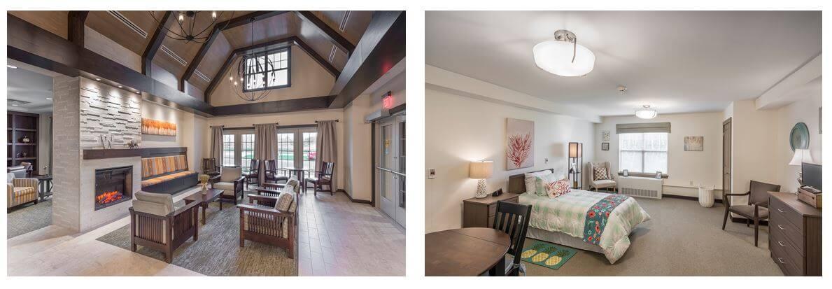 Interior photos of Wheatfield Commons, A DePaul Senior Living Community