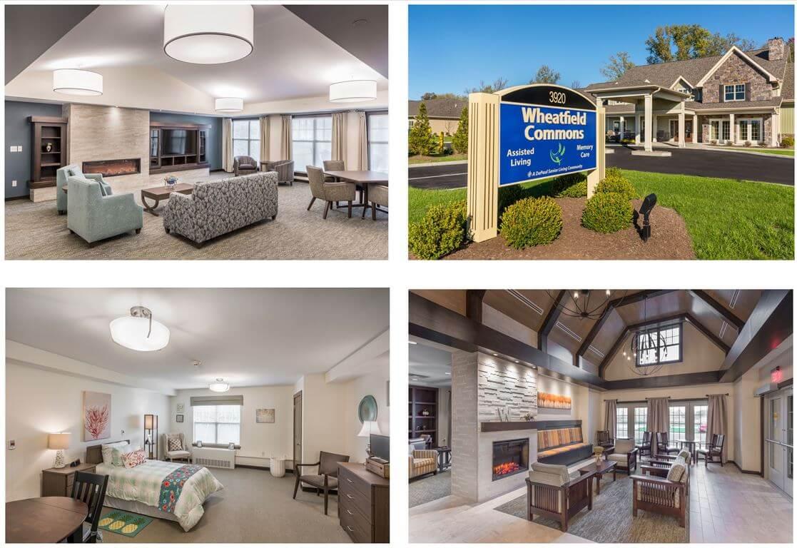 Interior and exterior photos of Wheatfield Commons, a DePaul senior living community