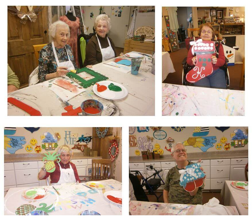 Wexford House residents Bernice Harris and Betty Griffin, Mary Kanupp, Susie Morlock and Rick Taylor crafting gifts for their families