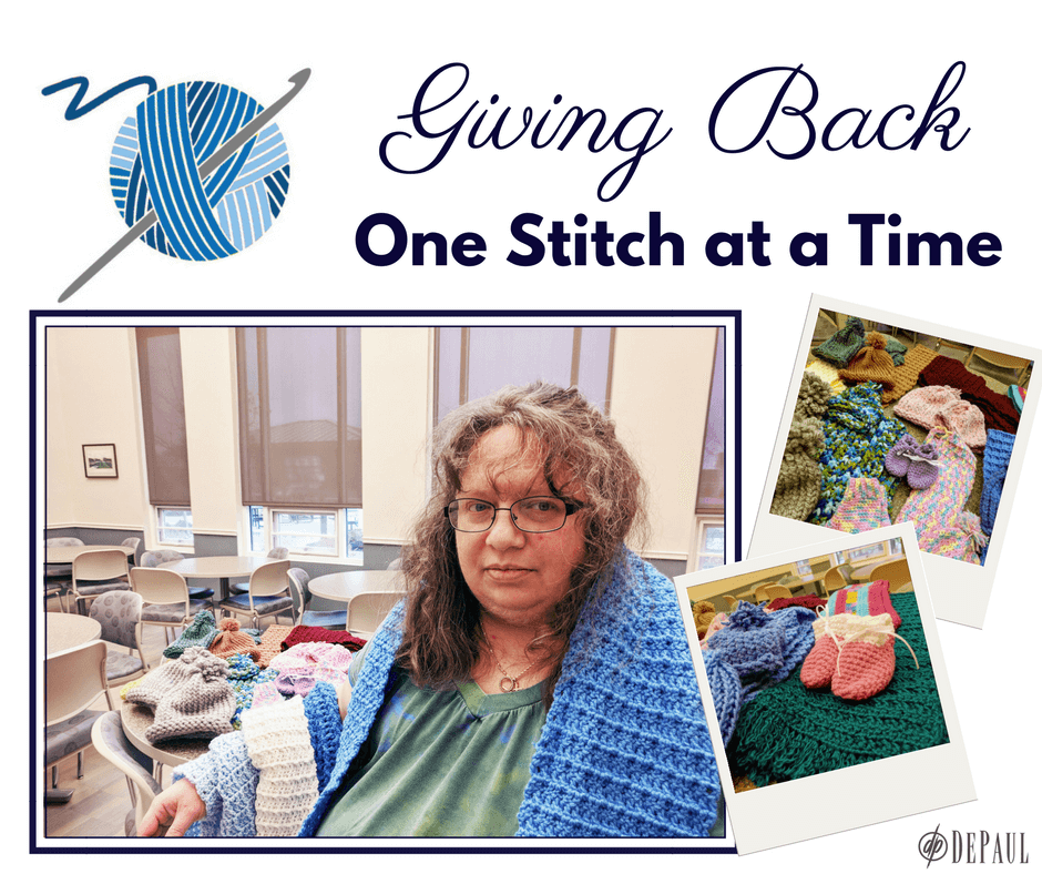 Giving Back One Stitch at a Time Trolley Station Craft Club Graphic with photos of a crafter and her handmade items