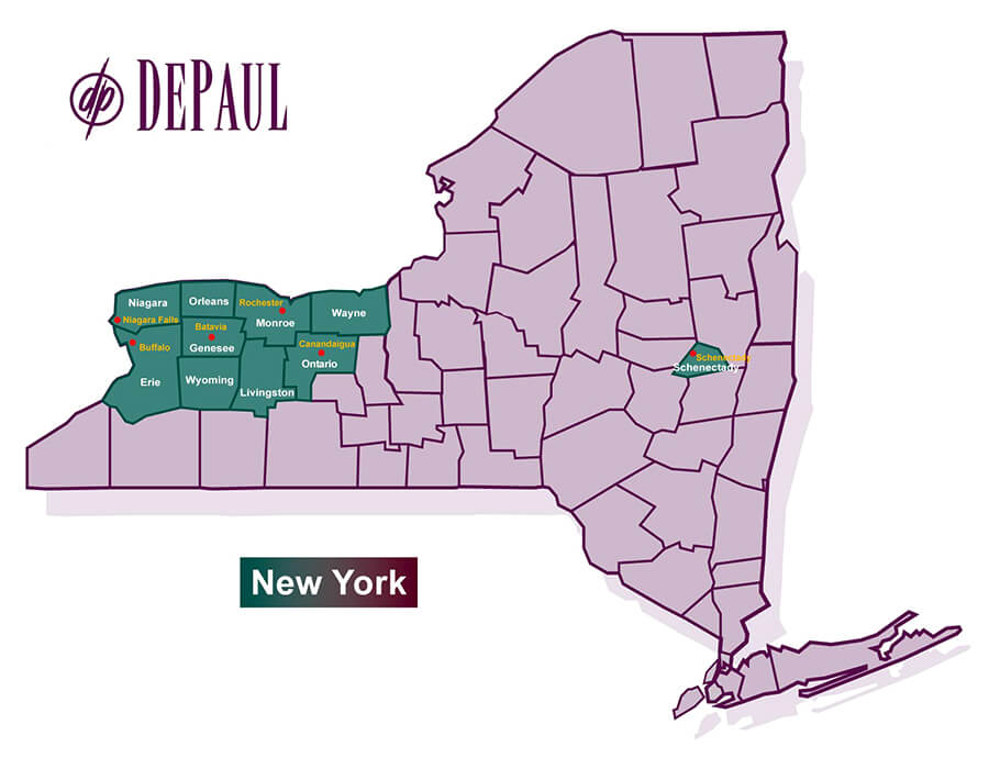 DePaul New York Counties Map
