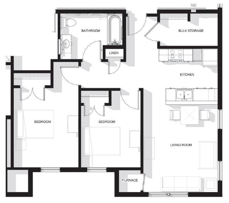 Skybird Landing Two Bedroom Apartment Floor Plan