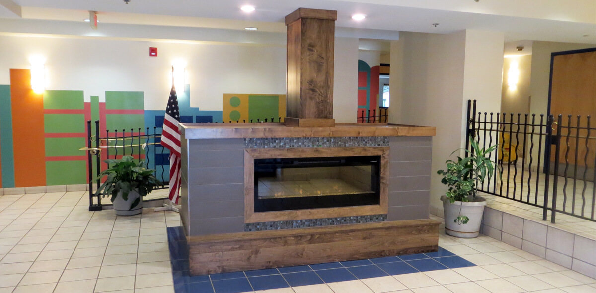DePaul McKinley Square Community Residence Single Room Occupancy Program fireplace