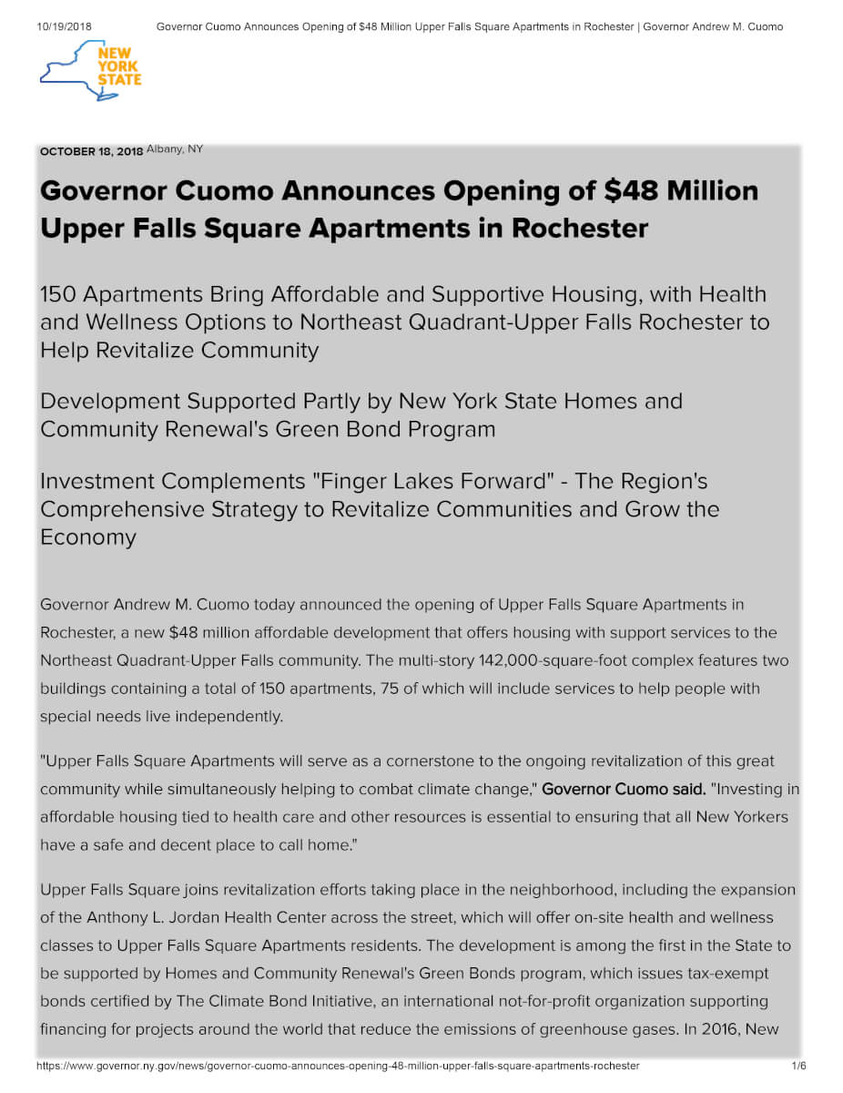 Governor Cuomo Announces Opening Of $48 Million Upper Falls Square Apartments In Rochester Governor Andrew M1
