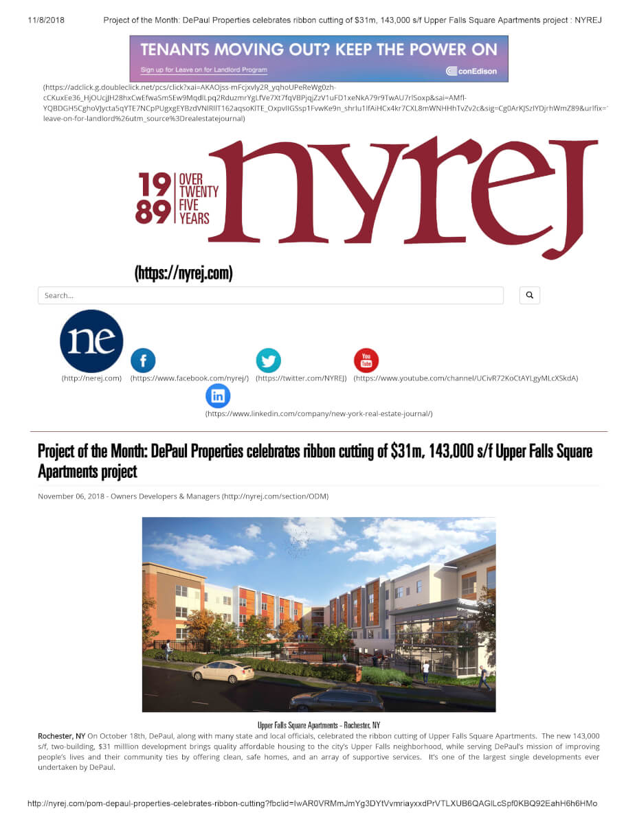 Project Of The Month DePaul Properties Celebrates Ribbon Cutting Of $31m, 143,000 S F Upper Falls Square Apartments Project NYREJ 1
