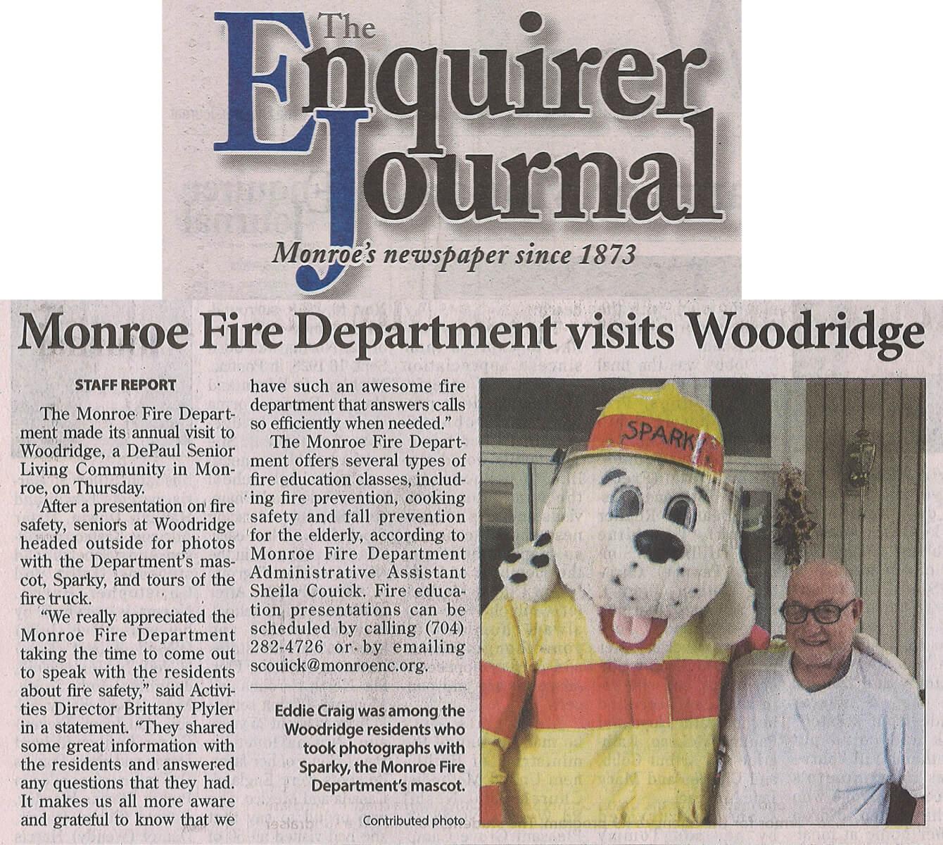 Woodridge Fire Department Visit, 12.2.18 Enquirer Journal