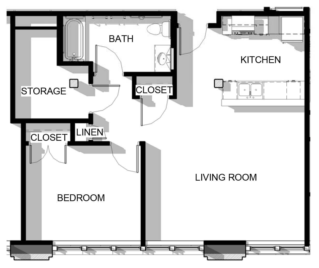 One Bedroom Unit Floor Plans Perry