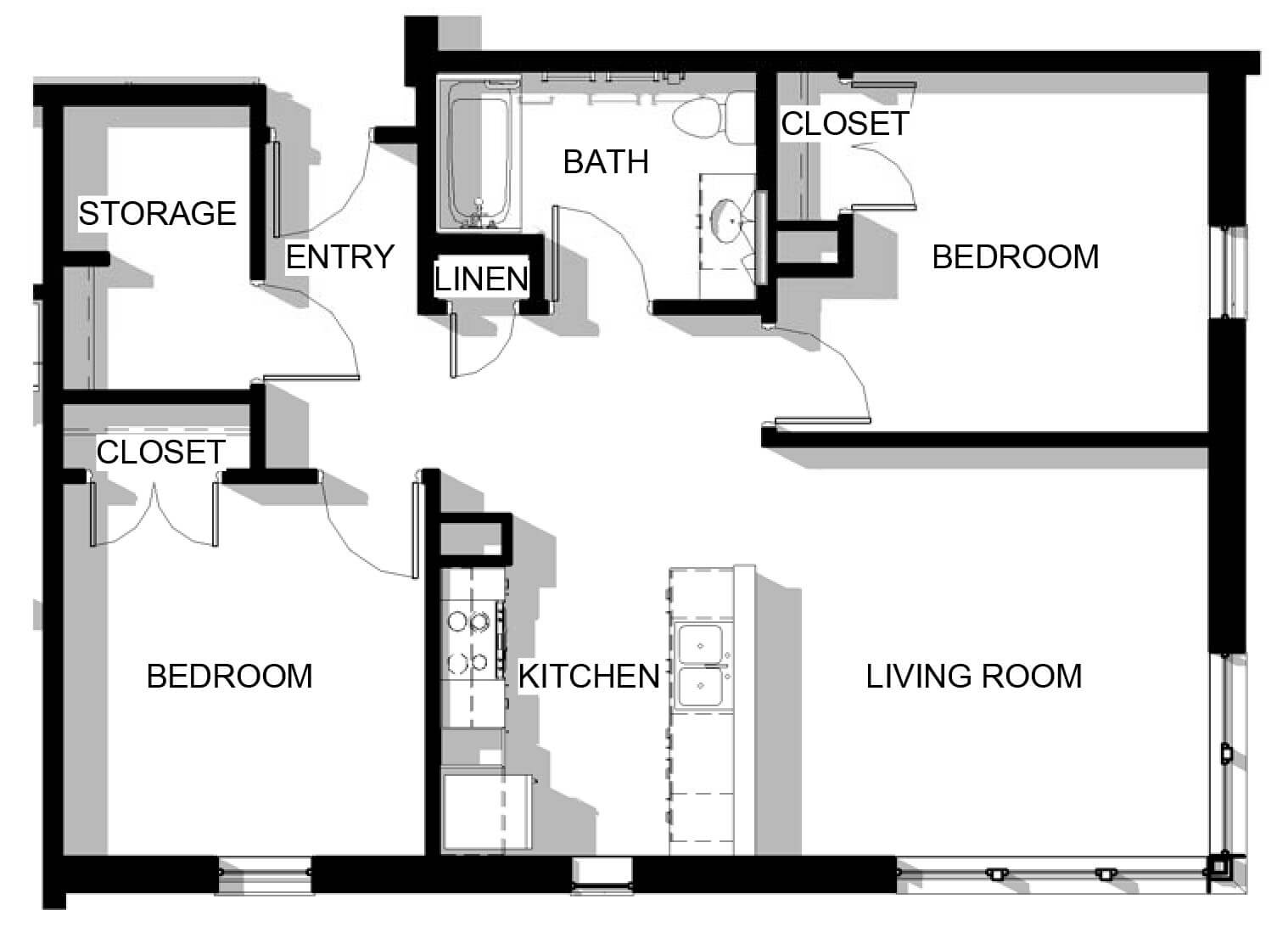 Two Bedroom Unit Floor Plans Perry
