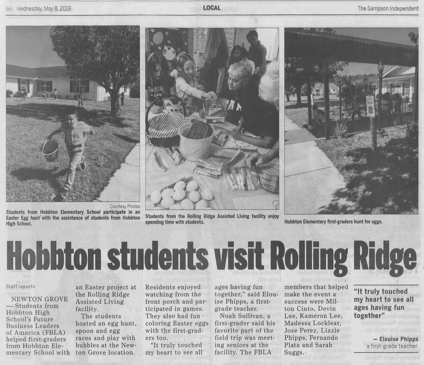RR Student Visit, 5.8.19 Sampson Independent