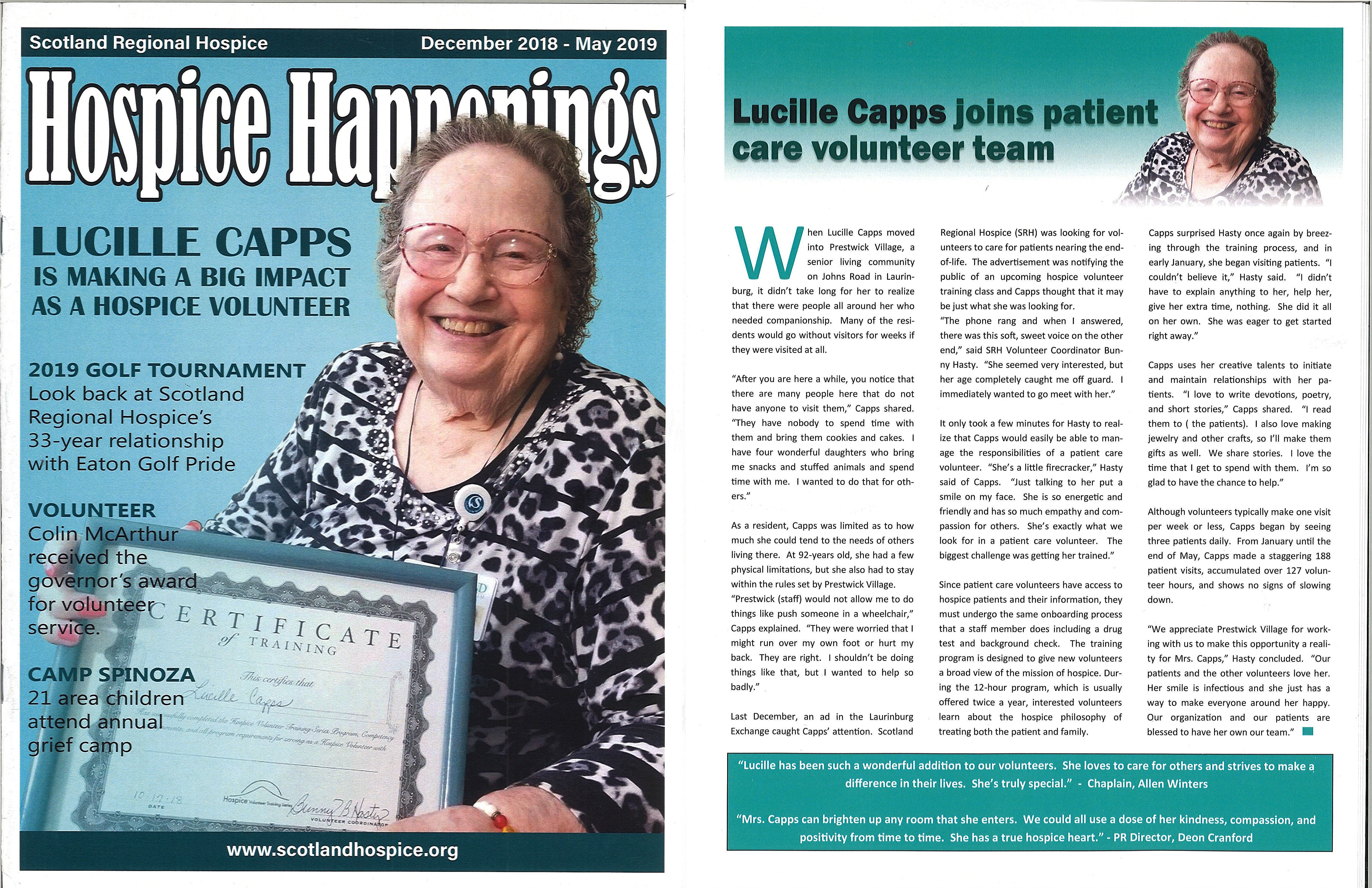 Prestwick Lucille Capps, Dec 2018 May 2019 Hospice Happenings