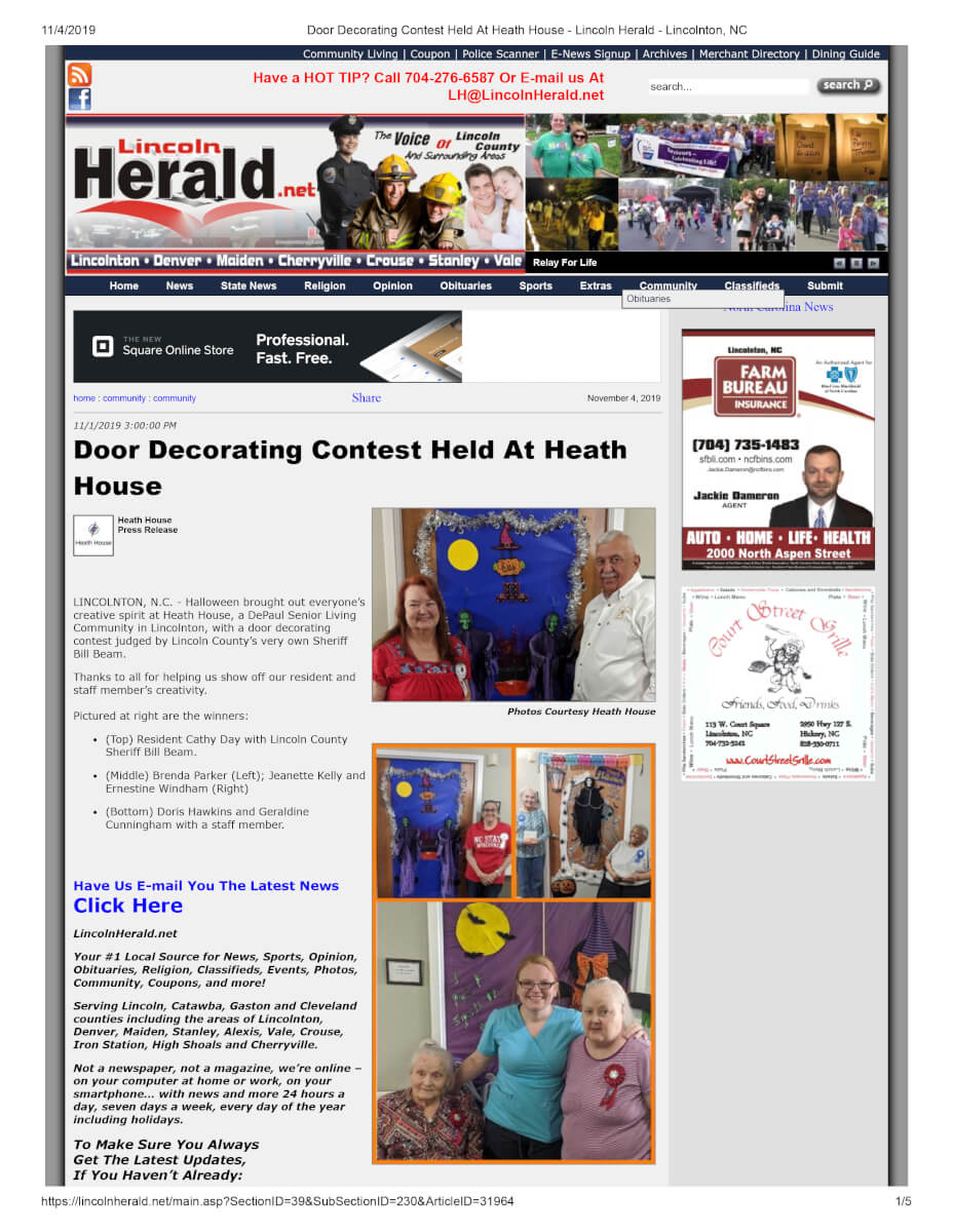 Door Decorating Contest Held At Heath House Lincoln Herald Lincolnton, NC
